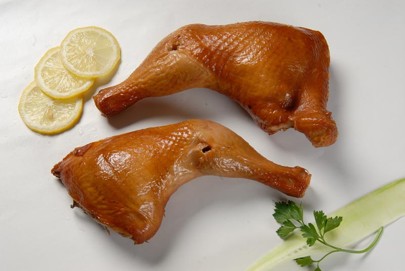 Boiled-and-smoked chicken leg quarter