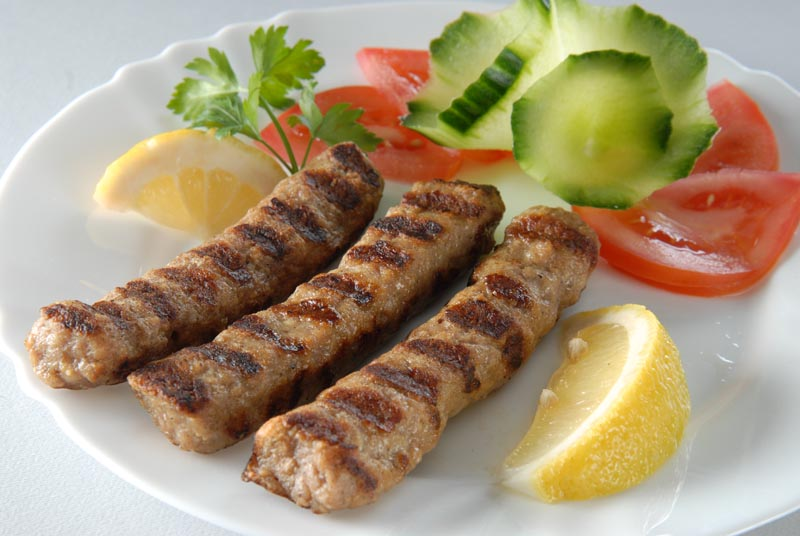 Grilled skinless pork sausage